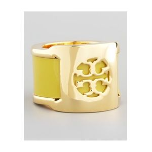 Tory Burch Wide Band Yellow patented leather ring